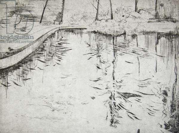 Walkway, Kew Gardens, 2014, (etching)