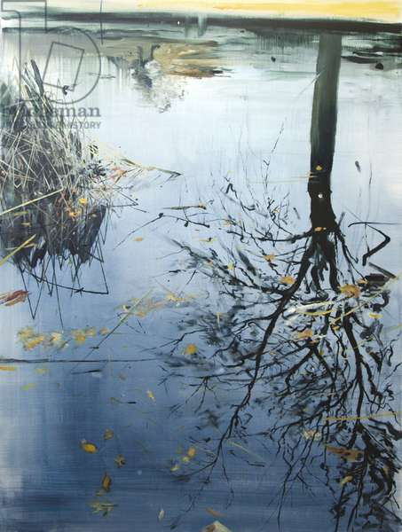 Leaves and Reeds on Tree Reflection, Planten un Blomen, 2013 (oil on board)
