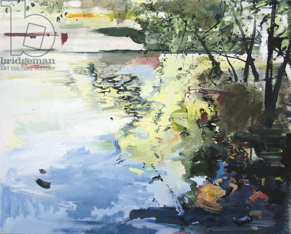 The Alster in High Summer, Hamburg, 2013, (oil on board)