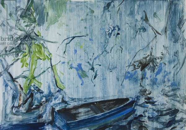 Blue Boat Rain Nocturne, 2015, (monotype)