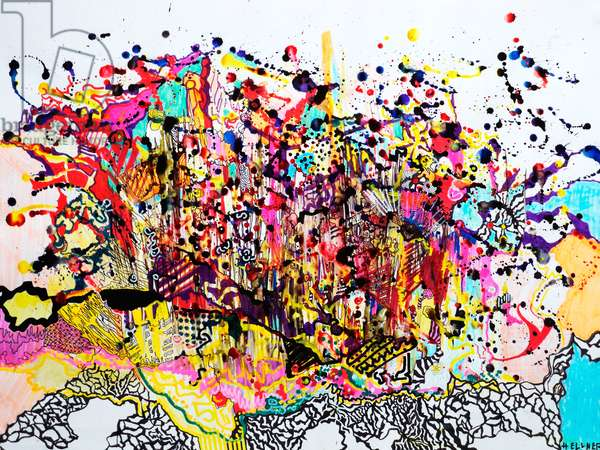 Explosion, 2009 (mixed technique on paper)