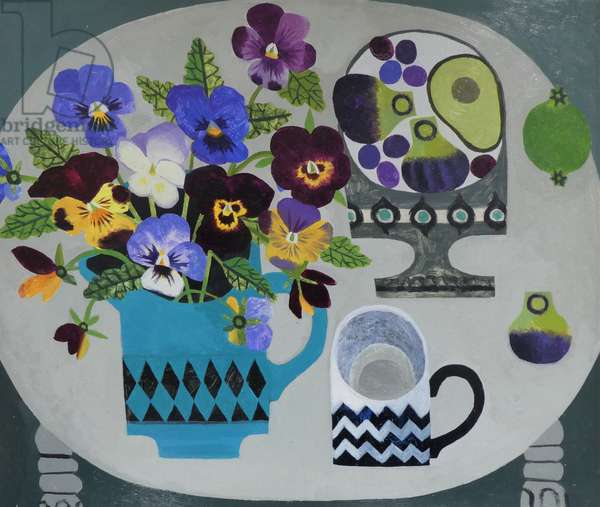 Pansies and Zig Zag Cup