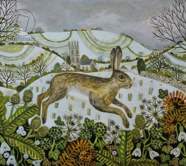 Leaping winter Hare