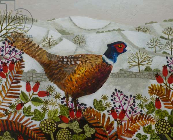 Pheasant and Snowy Hillside
