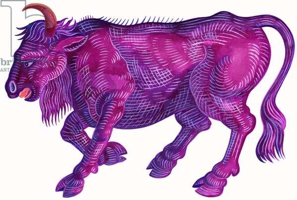 Raging Bull Taurus, 1996, (ink and gouache)