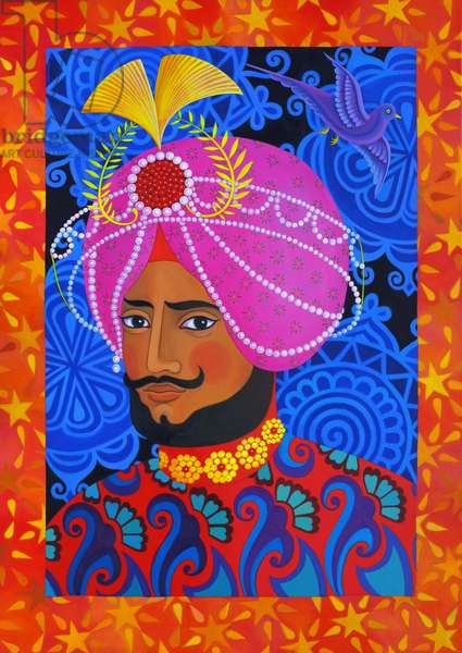 Maharaja with Pink Turban, 2012, (oil on canvas)