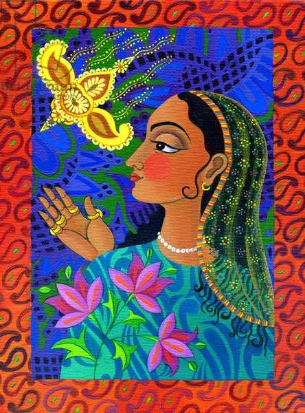 Maharani with yellow bird, 2011, (oil on canvas)