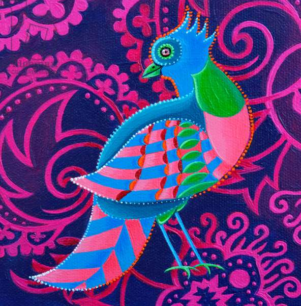Chequered Bird, 2019, (oil on canvas)