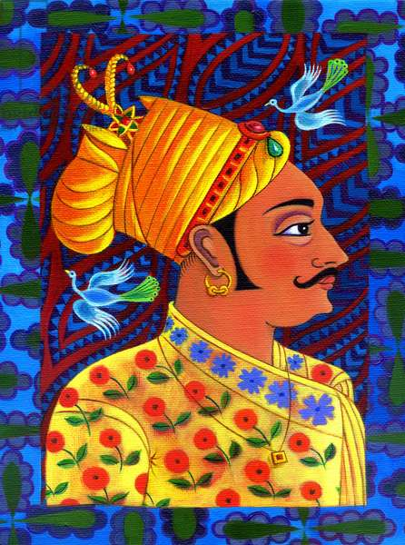 Maharaja with blue birds, 2011, (oil on canvas)