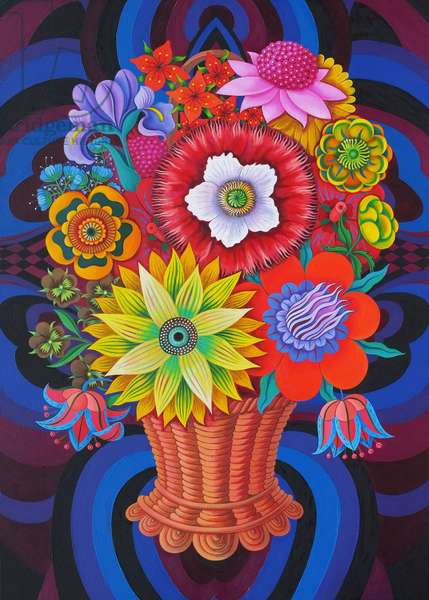 Blooms in a basket, 2013, (oil on canvas)