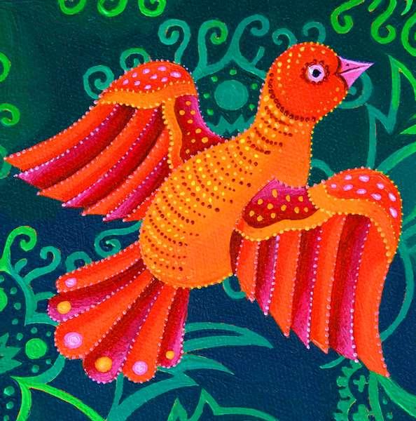 Orange Bird, 2019, (oil on canvas)
