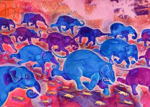 Elephants, 1998, (ink and gouache)
