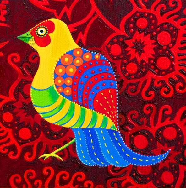 Blue-tailed Bird, 2019, (oil on canvas)