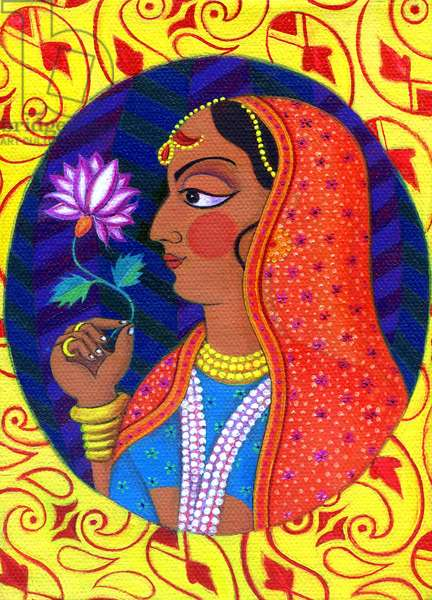 Maharani with white and pink flower, 2011, (oil on canvas)
