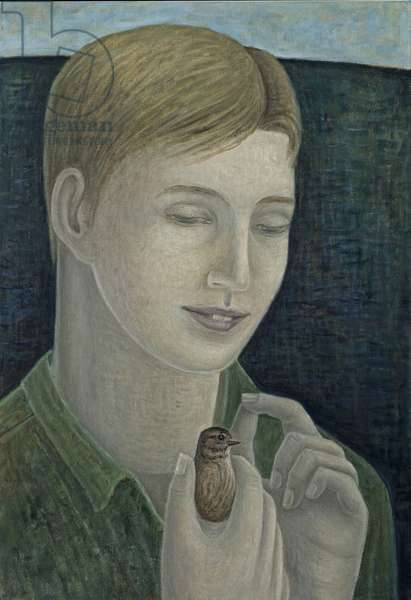The Young Francis (Boy Holding Bird), 2015 (oil on canvas)