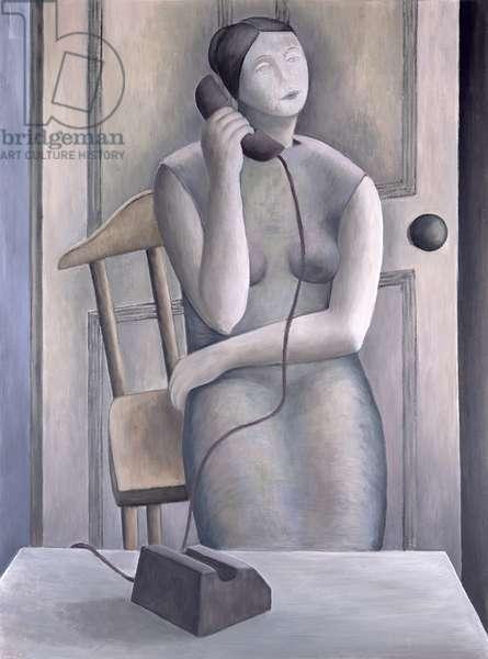 Woman on Phone, 1995 (oil on board)