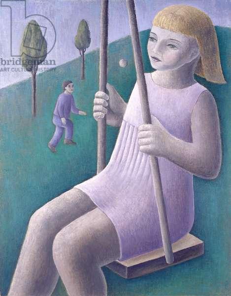 Girl on Swing, 1996 (oil on board)