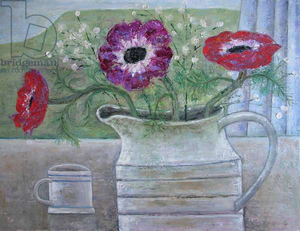 Anemones in White Jug