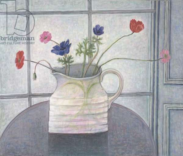 Anemones and Poppies in White Jug, 2008 (oil on canvas)