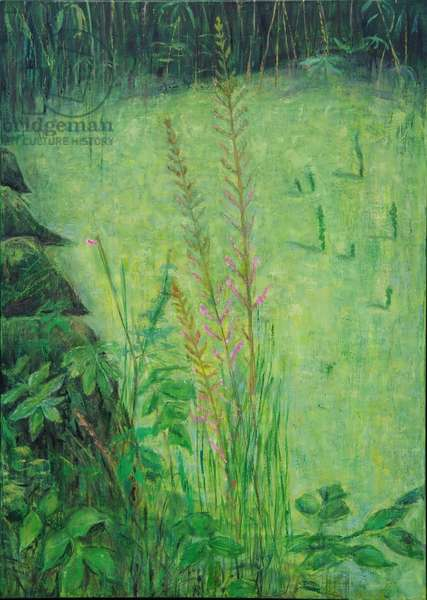 Study in Green (Pond), 2016 (oil on wood)