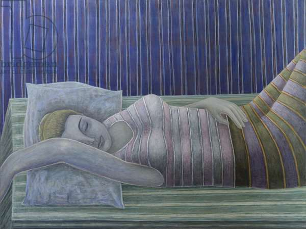 To Sleep, Perchance to Dream (Stripes),  2014 (oil on canvas)