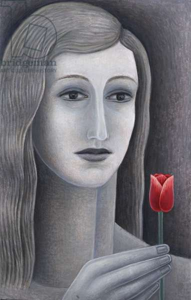 Girl with Tulip (oil on canvas)