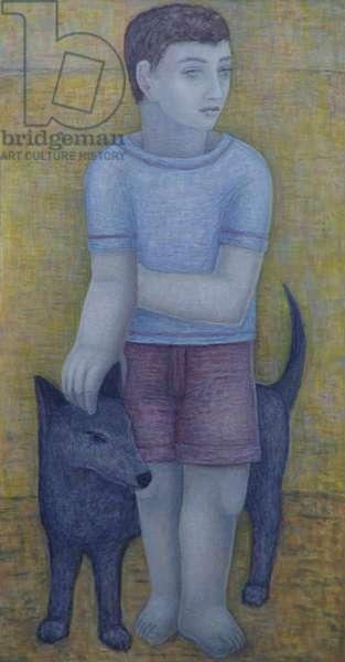 Boy with Dog, 2016 (oil on canvas)