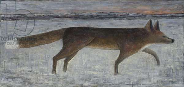 Winter Fox, 2014 (oil on wood)