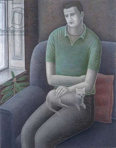 Young Man with Cat, 2008 (oil on canvas)