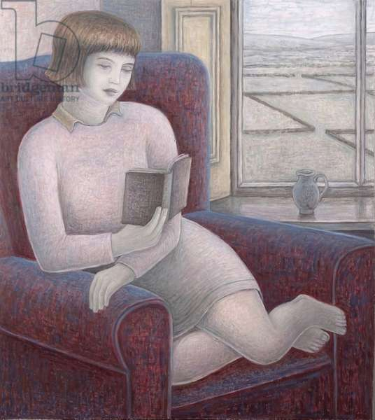 Girl Reading in Armchair