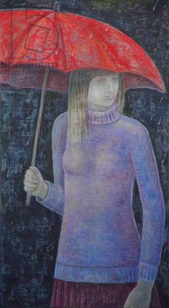 Red Umbrella, 2017 (oil on canvas)