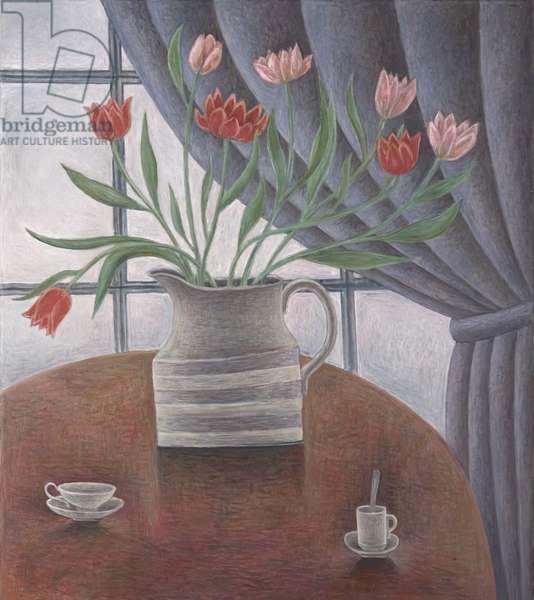 Tulips, Curtain, Cups, 2002 (oil on canvas)