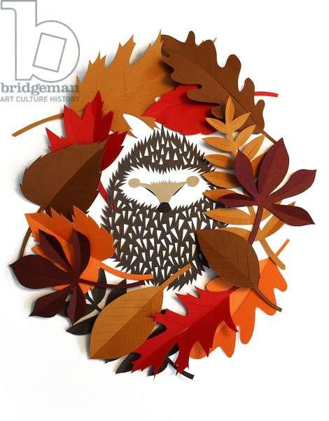 Hedgehog Wreath, 2015 (cut paper)