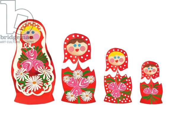 Russian dolls, 2014, (cut paper)
