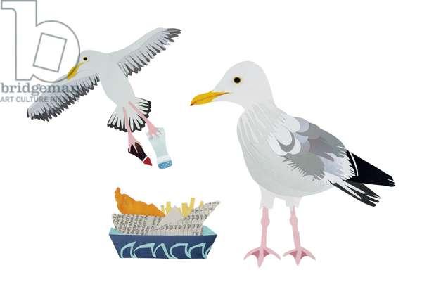 Seagulls, 2014, (cut paper)