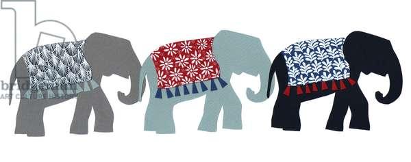 Elephants, 2015, (cut paper and pen)