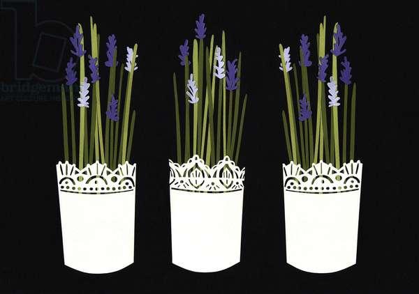 Lavender pots, 2014, (paper)