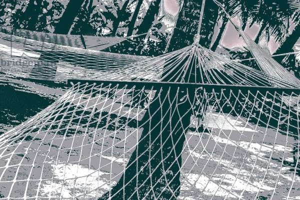 Hammocks, from the series, Lakshadweep Impressions, 2014, (repainted photograph)