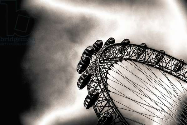 Watching Them Watch the Beams of Light, from the series, The London Eye, 2012, (repainted photograph)