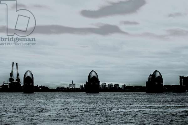Guard Duty, from the series Passage Through the Thames Barrier, 2013, (repainted photograph)