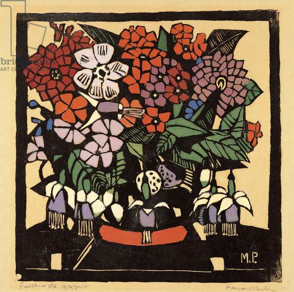Fuchsias, 1928 (completed 1938) (hand-coloured woodcut with gouache on tan paper)