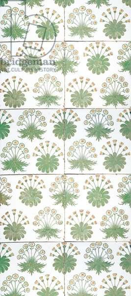 Daisy tile panel, c.1870 (earthenware)