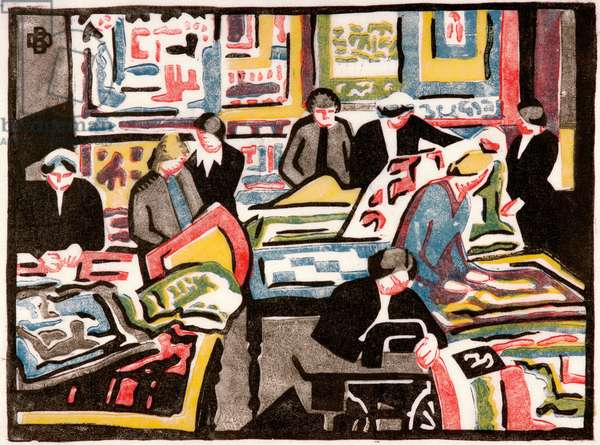 The wool quilt makers, c.1940 (colour linocut on paper)
