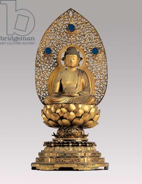 Amida Nyorai, Edo Period (wood, gold leaf, bronze & glass)