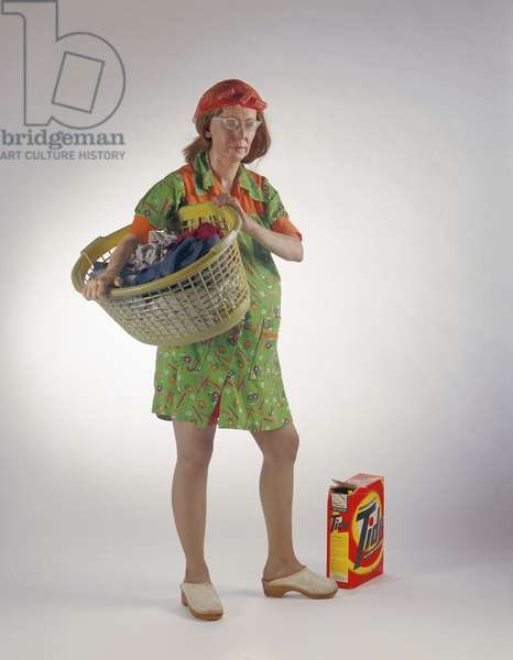 Woman with a laundry basket, 1974 (mixed media)