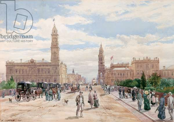 King William Street, Adelaide, 1885 (w/c on paper)