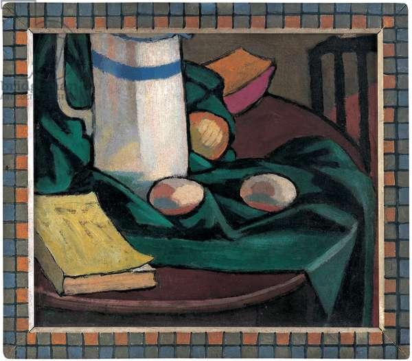 Still life: jug and eggs, 1911 (oil on wood panel)