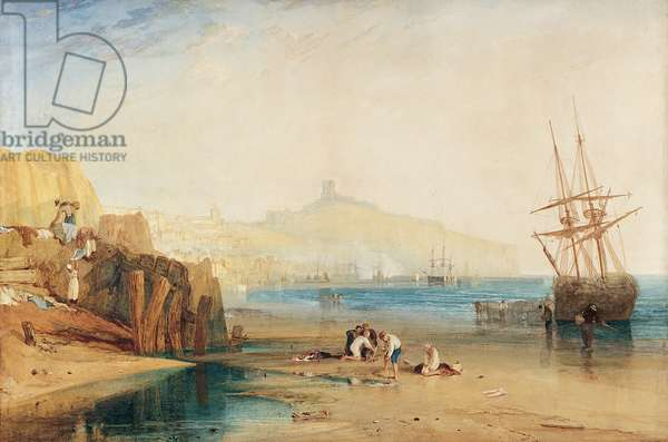 Scarborough Town and Castle: Morning, Boys catching Crabs, c.1810 (w/c on paper)