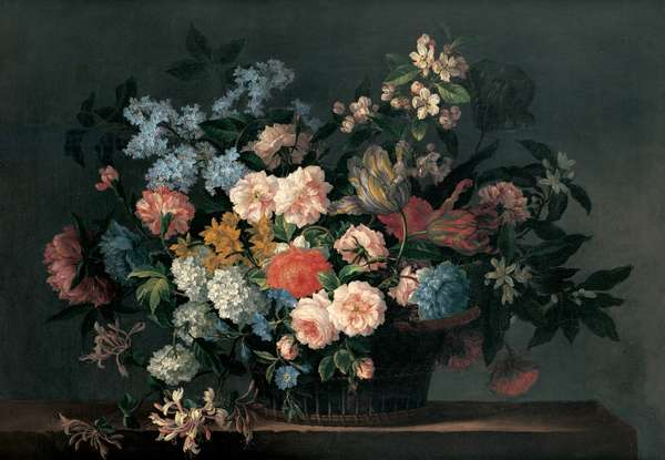 Still life with basket of flowers, c.1690 (oil on canvas)