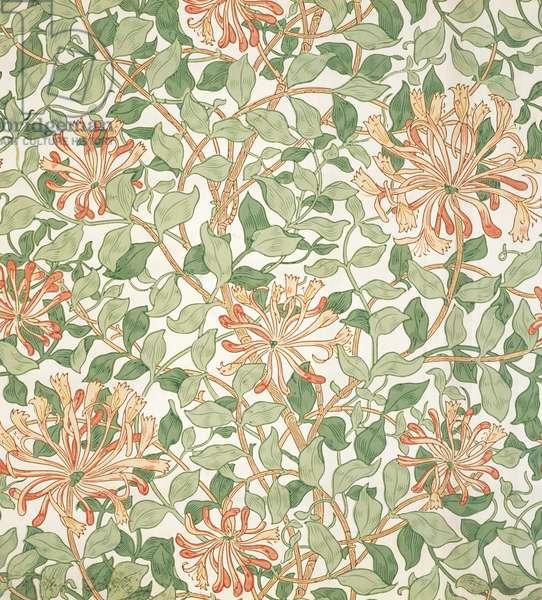 Honeysuckle wallpaper, c.1900 (colour woodcut on paper)